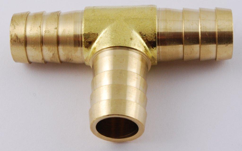 MettleAir 123-10-1 PK 5//8 ID Hose Barb Tee T Union Fitting Intersection//Split Brass