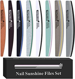 iFancer 8 pcs Professional Nail Files and Buffer Kits Double-sided Grit Nature Nail Files Set Washable Acrylic Nail Emery ...