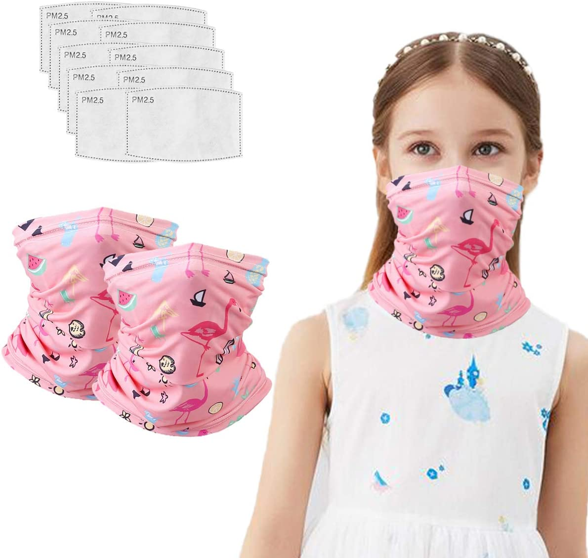 Age 4-12 Arawell Kids Face Banana Neck Gaiter Mask with Ear Loops for Boys Girls Reusable Cover