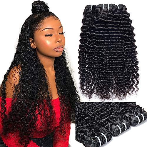 Vipbeauty Virgin Malaysian Deep Curly Bundles 300g/11oz Double Weft Unprocessed Remy Human Hair Weave Extensions 3 Bundles Deal Natural Black ( 18 20 22 )