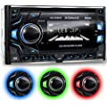 XOMAX XM-2CDB620 Car Stereo with CD-Player + Bluetooth hands-free & music streaming + USB port (plays up to 128 GB) and micro-SD-Card-slot (plays up to 128 GB) for MP§ & WMA + 3 light colours adjustable: Blue Red Green + AUX-IN + FM radio + Double-DIN / 2-DIN standard dimensions + 2x Connection for Subwoofer + futuristic design: carbon look + incl. remote control, trim and cage