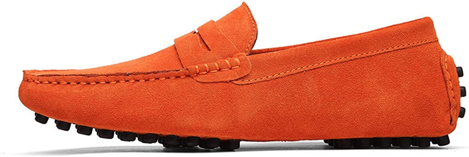 Z.L.F Men's Driving Penny Loafers Suede Genuine Leather Fashion Moccasins Slip-On Boat shoes Up to Size 12 MUS Oxford shoes (color   orange, Size   10.5 MUS)