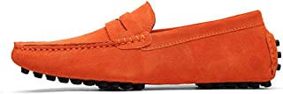 shangruiqi Men's Driving Penny Loafers Suede Genuine Leather Casual Moccasins Slip-On Boat Shoes Up to Size 49 EU Anti-Skid (Color : Orange, Size : 43 EU)