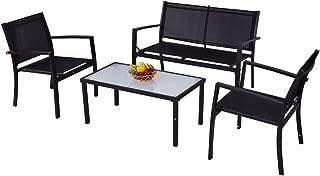 Giantex 4 PCS Outdoor Patio Furniture Set Sofa Loveseat Tee Table Garden Yard Pool Side