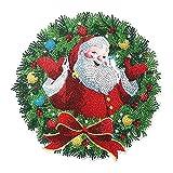 WlP 5D Diamante Arte Corona De Navidad Kit De Corona De Arte De Cristal Corona De Taladro De Punto De Cristal DIY Pintura De Arte De Diamante Bordado Guirnalda De Flores para Vacaciones Decoración