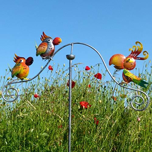Pommerntraum ®   Windspiel Gartenpendel Gartenstecker Gartendeko Gartenkunst Bunte Paradies Vögel Vogel