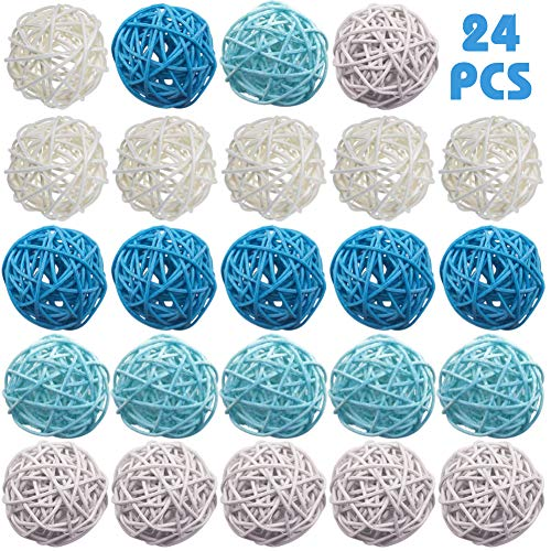 DomeStar Rattan Ball, 24PCS 2 Inch Wicker Ball Decorative Ball Orbs Vase Fillers