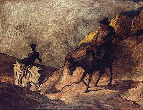 Dom Quixote e Sancho Pança Livro Miguel de Cervantes Literatura Pintura de Honoré Daumier na Tela em Vários Tamanhos (55 cm X 42 cm tamanho da imagem)