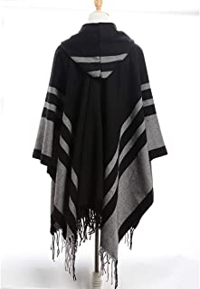 Women's Scarves, Ladies Fashion Scarves Cloak Hooded Shawl Female Europe and America Warm Striped Tassel Neckerchief Shawl Dual-Use National Wind,Black