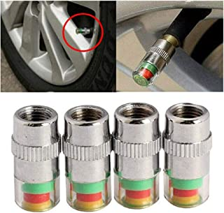 JUZZQ Tire Car Pressure Valve Indicator Stem Caps,Alert Sensor 3 Color Eye Alert Monitor Auto Alarm & Generic Monitoring Tools 2.4bar 36psi Universal Use (4 Pcs)
