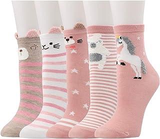 Calcetines de Animales, 5 Pares Divertidos Calcetines de Algodón Linda Piso Calcetines de dibujos Crew Socks para Bebé Niñas Adulto