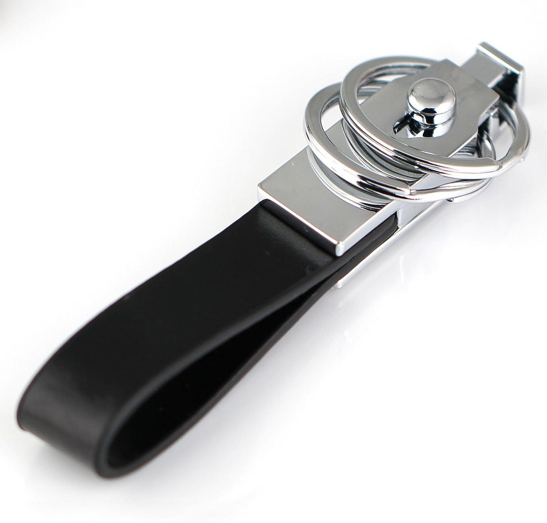 maycom Detachable Through Waist Belt Double Loops Black Leather Strap Keyring Keychain Key Chain Ring Key Fob Keychains 84015