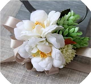 10pcs/ lot Artificial Camellia Flower Wedding Best Man Boutonniere Guest corsages Wedding Bridesmaid Wrist Flowers,White Wrist Flower