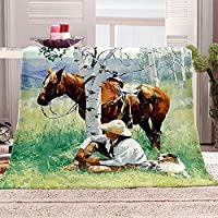 JYSZSD フリースブランケット 男と馬 スソフトウォームプラッシュスローブランケットベッド/ソファ/ソファ/オフィス/キャンプ用 70x100cm