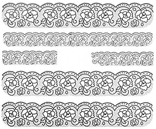 CM Nail Art manucure Stickers Ongles décalcomanie Scrapbooking: 5 Bandes Roses Fleurs Dentelle