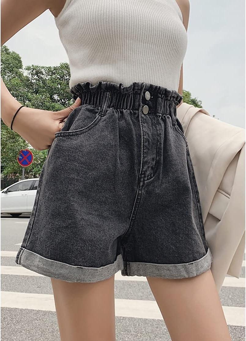 PDGJG Plus Size Summer Black Women's Denim Shorts Large Size 5XL Ruffle White High Waisted Shorts Elastic Waist Jeans (Color : Gray, Size : L-Code)