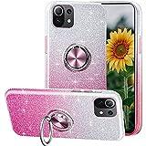 Compatible con el Estuche XiaoMi Mi 11 Lite,Funda de teléfono Brillante 3 en 1,Anillo Giratorio de 360 ° para Soportes magnéticos para automóvil,adecuadoXiaoMi Mi 11 Lite-Rosa