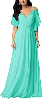 Botong A Line Cold-Shoulder Ruffled Prom Party Gown Chiffon Long Bridesmaid Dresses