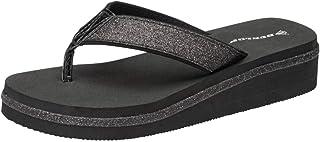 Dunlop Ladies Low Wedge Multi Platform Summer Slip On Toe Post Flipflops Sandals Shoes Size 3-8 (All. Black