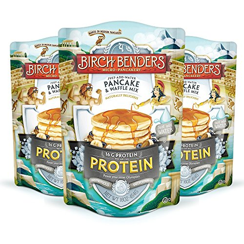 Performance Protein Pancake and Waffle Mix with Whey Protein by Birch Benders 16 Grams Protein Per Serving NonGMO Verified Just Add Water 48 Ounce 16oz 3pack