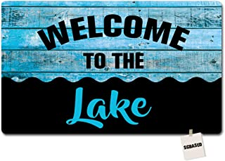 SGBASED Door Mat Funny Doormat Welcome to The Lake Blue Wood Mat Washable Floor Entrance Outdoor & Indoor Rug Doormat Non-Woven Fabric (23.6 X 15.7 inches)