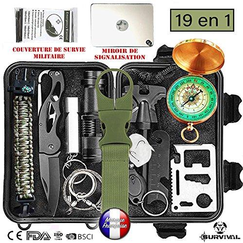 Kit di sopravvivenza di emergenza, Astuccio di sopravvivenza di salvataggio Survival 19 in 1. Il migliore attrezzattura di sopravvivenza di Attacco e di difesa per campeggio, escursionismo