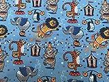 Glünz Jersey Zirkus blau / 0,5 m/Kinderstoff / 16,50€/m