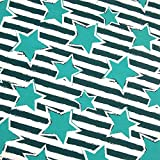 0,5m Jersey türkise Sterne auf Ringel Petrol/weiß 5%