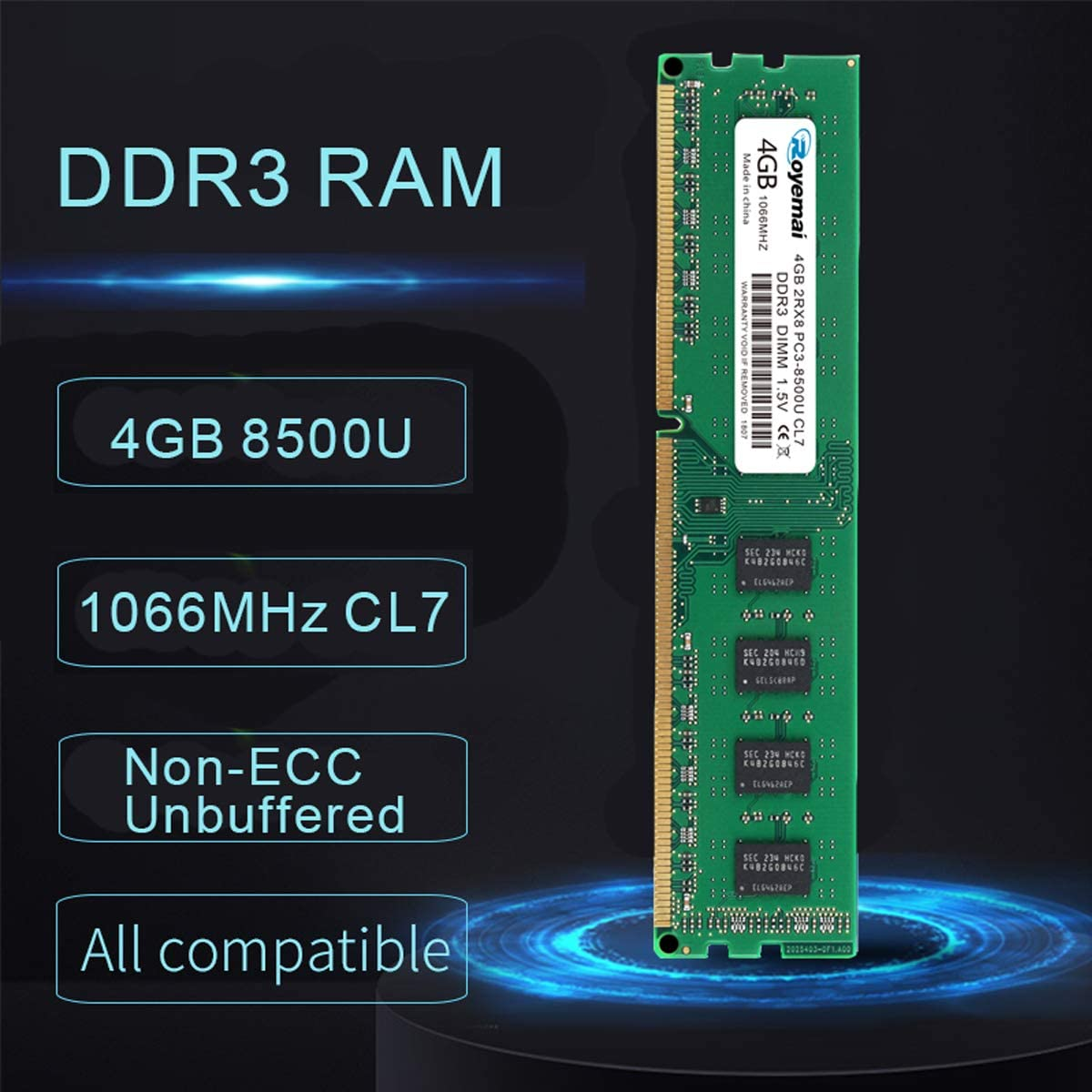 DDR3 1600 MHz PC3 12800U RAM 2Rx8 240-pin 1,5V CL11 Desktop Arbeitsspeicher Upgrade Chips DUOMEIQI 8 GB Kit 2X 4 GB