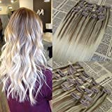 14'' 120G / 7pcs Dip and Dye Ombre Clip in Human Hair Extension Balayage Color #10 fading to #613 Bleach Blonde Clip on Hair Extensions Thick Ends Double Weft Clip in Extensions Omber Hair Extensions