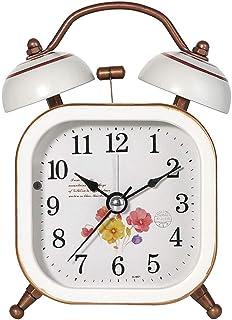 目覚まし時計電池式ツインベルナイトライトサイレントアラーム大声で家の寝室のベッドサイド置時計学生レトロスクエア Rxcyjlinzw (Color : B, Size : 7.5cm*11.5cm)