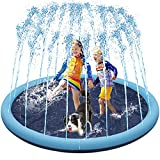 Decorlife Sturdy Dog Splash Pad, Sprinkler Pool for Kids & Dogs, Outdoor Water Toys for Backyard & Garden, Easy to Use, 55 inch