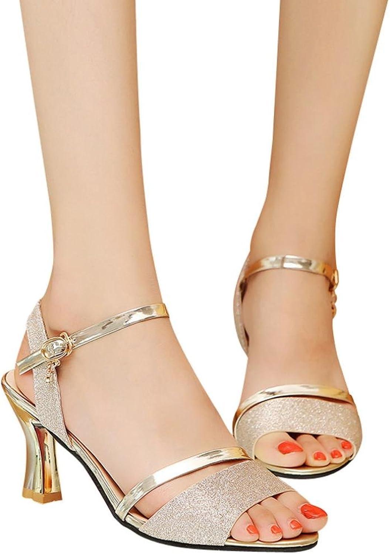 Fheaven (TM) Women's Stiletto Heel Sandals Sequins Sandals Ankle Block Open Toe shoes White
