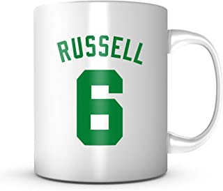 Bill Russell #6 Mug - Jersey Number Green/White Coffee Cup