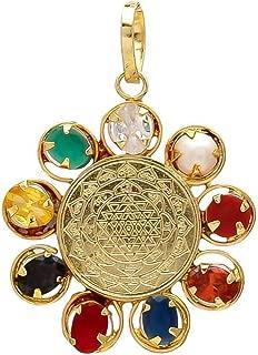 PLANET 007 Shri Yantra Navratna Locket/Navgraha Pendant/Gem Stone Nine Planet Locket for Men and Women