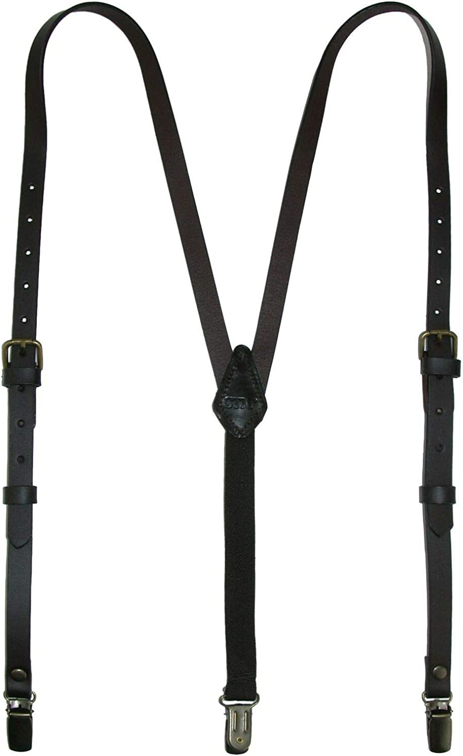 1 Pcs Women's Coated Leather 1/2 Inch Clip-End Suspenders (Black)