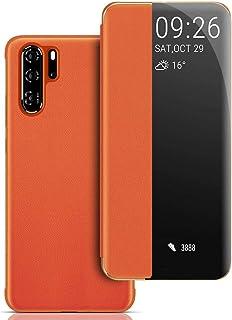 Funda Huawei P30 Pro, Ventana Carcasa Huawei P30 Pro Flip Cover Auto Wake/Sleep Smart View Window Caso Funda de Cuero PU Premium para Huawei P30 Pro - Naranja
