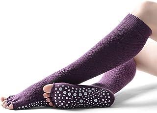 Calcetines de yoga Señoras Tubo Largo Malla sin Dedos Calcetines de Baile Transpirables Antideslizantes Calcetines de Piso (Color : Purple)