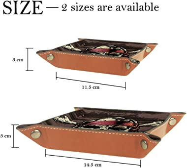 Pirate Skull Leather Tray Dice Box Bedside Tray Key Watches and Candy Holder Sundries Entryway Tray,20.5x20.5cm