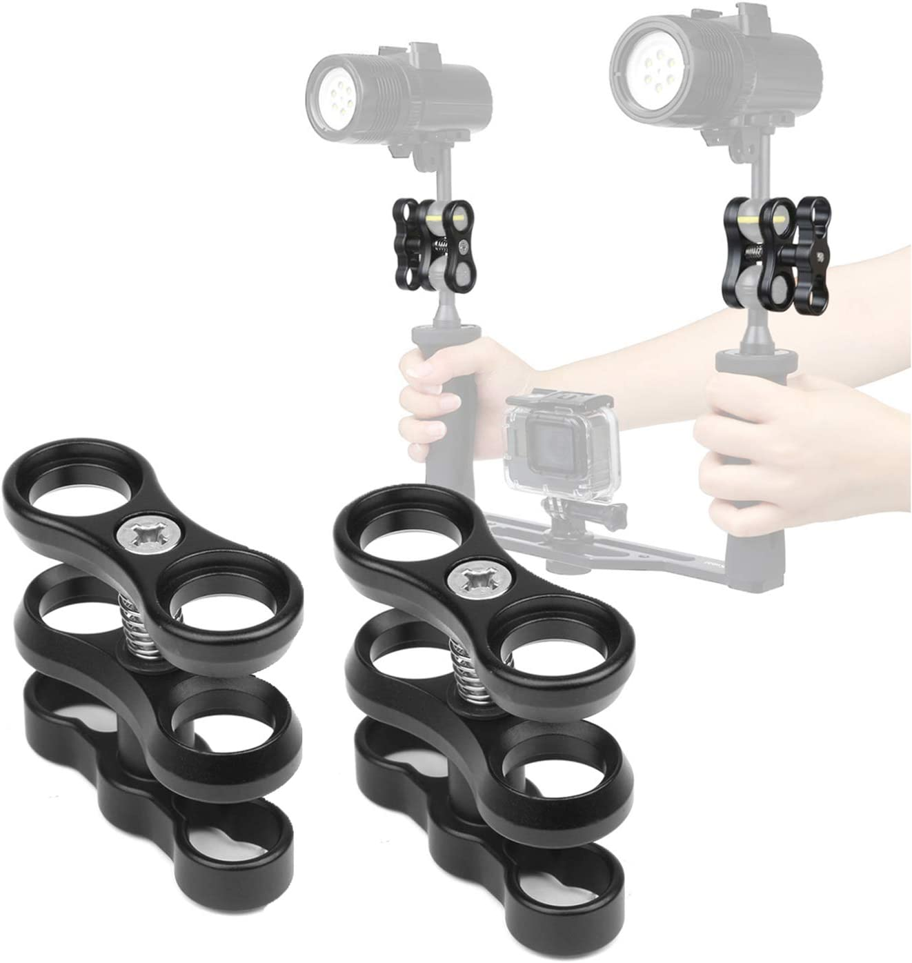 Photography Diving Camera 4 Pcs 1 Aluminum Ball Clamp Mount for Underwater Diving Light Arms Tray System