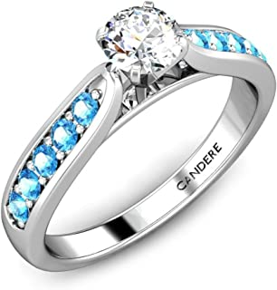 0.65 Carat (ctw) Solitaire Engagement Ring Round Diamond with Royal Topaz Accents in 14K Gold & 925 Sterling Silver