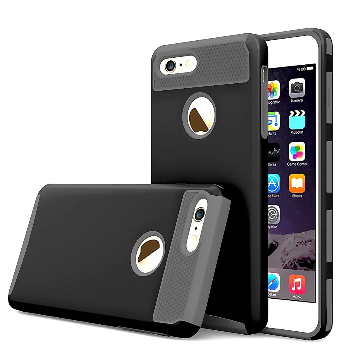 iBarbe Black+Gray Slim Fit case for iPhone 7,iPhone 8, Rubber Hard Plastic Shell Case Full Protective Anti-Scratch Resistant Cover Case for iPhone 7 (2016) / iPhone 8 (2017) - Black/Rosegold