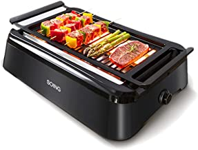 [SOING][Advanced Smokeless Indoor Grill,Portable Electric Infrared Indoor Grill,Removable Plates,Dishwasher-Safe,1 Year Warranty][21.9 x 17 x 8.5 inches][Black]