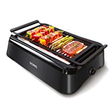 SOING, Advanced Smokeless Indoor Grill,Portable Electric Infrared Indoor Grill,Removable Plates,Dishwasher-Safe,1 Year Warranty, Black