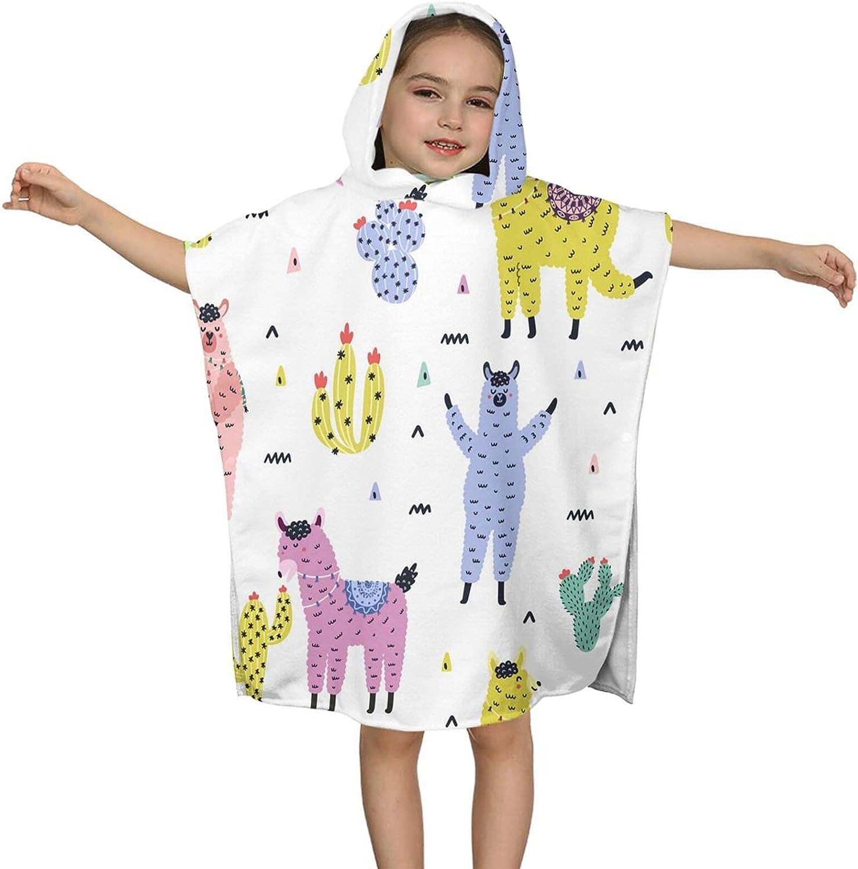 Hooded Dedication Bath Towel Cute Llamas and W Kids Succulents unisex