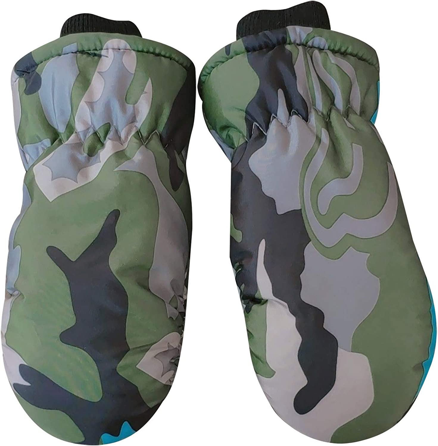 Alueery Children's Camouflage Ski Cold-Proof Waterproof And Snow-Proof Finger Gloves