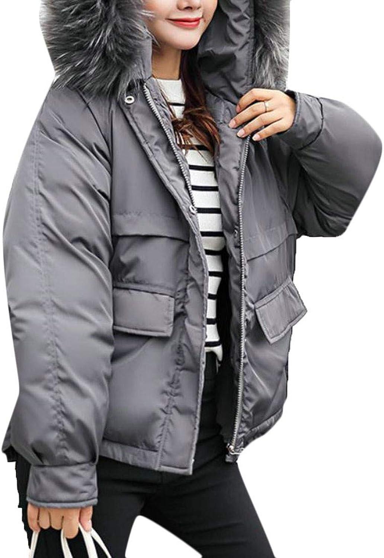 Pandapang Women's Plus Size Thicken Faux Fur Hooded Parkas Down Coat Outwear