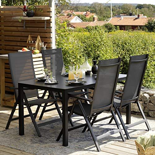Brafab Gartenmöbel Esstischgruppe RANA Alu schwarz Tisch 150 x 90 cm Gartentisch Stühle