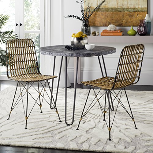 Safavieh Home Minerva Natural and Black Wicker Dining Chair, Set of 2