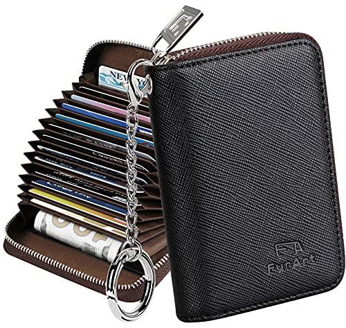 FurArt Kreditkartenetui für Damen und Herren, RFID Schutz, Schlüsselanhänger,Reißverschlussetui